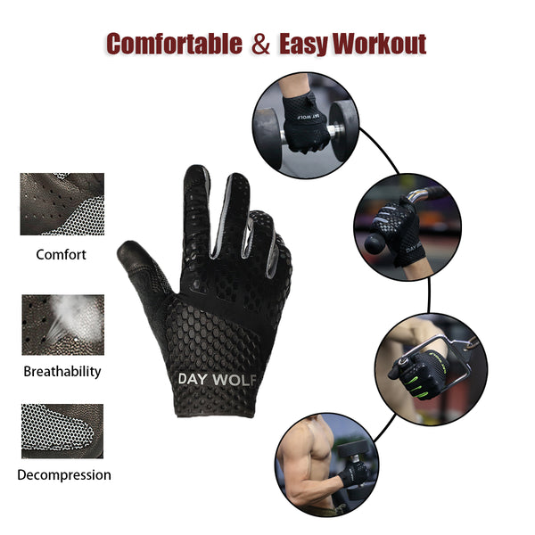 Full Finger Fitness Gloves Gym Workout Weight Lifting Exercise for Men & Women Black