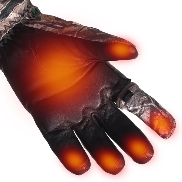 Heated Gloves Realtree Camouflage Hunting Gloves Electric Hand Warmer 7.4V 2200MAH Rechargeable Men Women Wind & Water Resistant Thermal for Winter Indoor Outdoor Sports Skiing Snowboarding Ice Fishing Camping Hiking