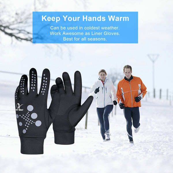 Running Gloves Lightweight Warm Best Elasticity Fit Liners Women Men Doted Black