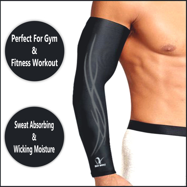 Sports Arm Sleeves UV Protection UPF 50+ Cooling Compression Comfortable for Men Women Black