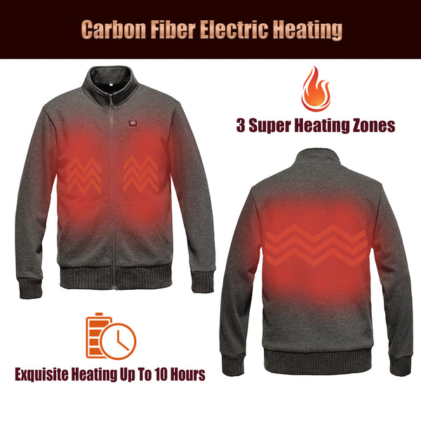 Heated Jacket Electric Warm Winter Fleece, 3 Heating Zone, 7.4V 5200mAh Battery