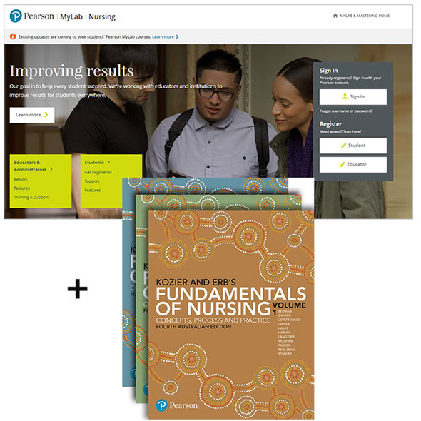 Paramedic Shop Pearson Education Textbooks Kozier and Erb's Fundamentals of Nursing Volumes 1-3 + MyLab Nursing (4e)