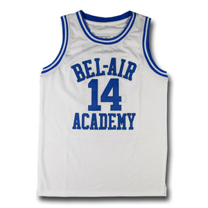WHITE BEL-AIR ACADEMY JERSEY #14 BASKETBALL THROWBACK JERSEY