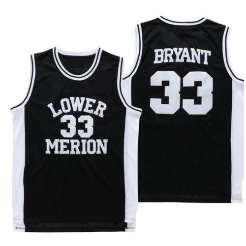 BLACK LOWER MERION KOBE BRYANT HIGHSCHOOL JERSEY #33 BASKETBALL THROWBACK JERSEY