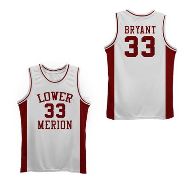 WHITE LOWER MERION KOBE BRYANT HIGHSCHOOL JERSEY #33 BASKETBALL THROWBACK JERSEY