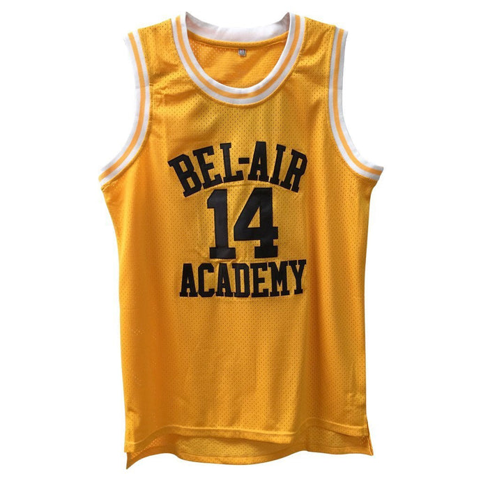 YELLOW BEL-AIR ACADEMY JERSEY #14 BASKETBALL THROWBACK JERSEY