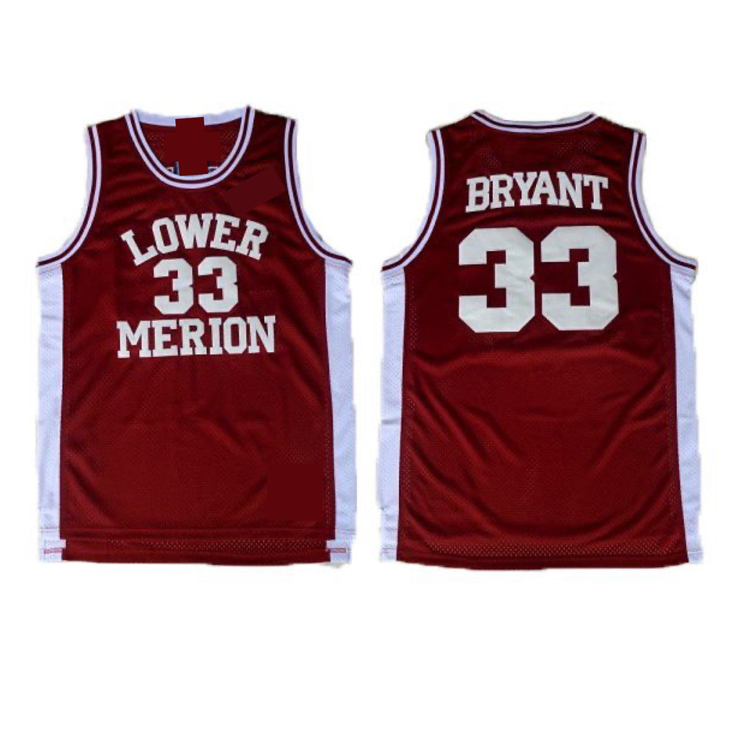 BURGUNDY LOWER MERION KOBE BRYANT HIGHSCHOOL JERSEY #33 BASKETBALL THROWBACK JERSEY