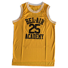 Load image into Gallery viewer, YELLOW BANKS BEL-AIR ACADEMY JERSEY #25 BASKETBALL THROWBACK JERSEY