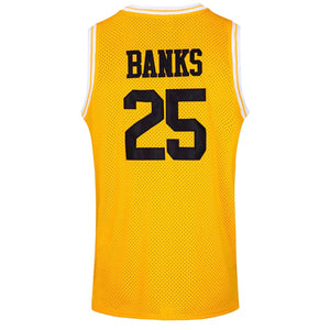YELLOW BANKS BEL-AIR ACADEMY JERSEY #25 BASKETBALL THROWBACK JERSEY