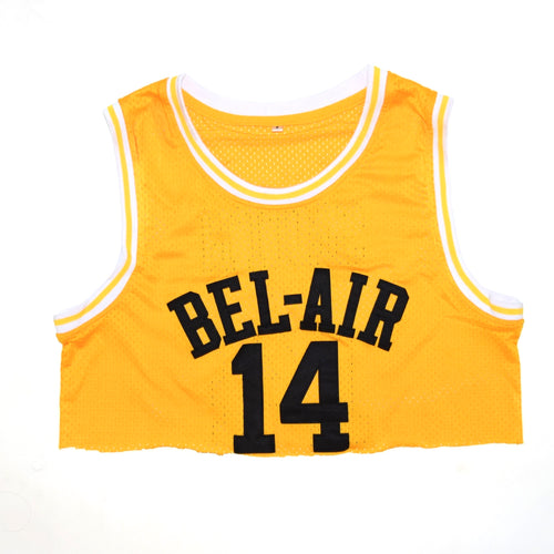 CROP TOP YELLOW BEL-AIR ACADEMY JERSEY #14 BASKETBALL THROWBACK JERSEY