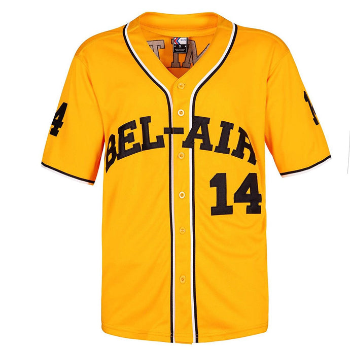 YELLOW BEL-AIR ACADEMY JERSEY #14 BASEBALL THROWBACK JERSEY