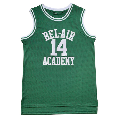 GREEN BEL-AIR ACADEMY JERSEY #14 BASKETBALL THROWBACK JERSEY