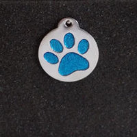 Glitter Enamel Paw Large Dog Id Tag - Blue