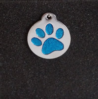 Glitter Enamel Paw Small Dog/Cat Id Tag - Blue