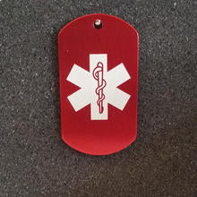 Red Large Medical Id Tag