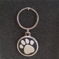 Deluxe Large Paw Print Dog Id Tag - Black