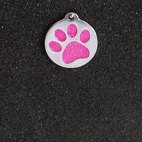 Glitter Enamel Paw Small Dog/Cat Id Tag - Pink