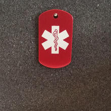 Red Small Medical Id Tag