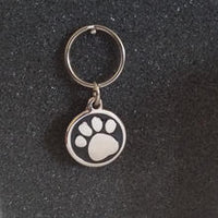 Deluxe Small Paw Print Dog/Cat Id Tag - Black