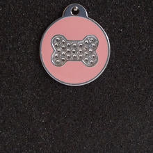 Swarovski Round with Bone Large Dog Id Tag - Pink