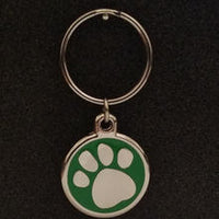 Deluxe Large Paw Print Dog Id Tag - Green