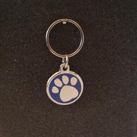 Deluxe Small Paw Print Dog/Cat Id Tag - Blue