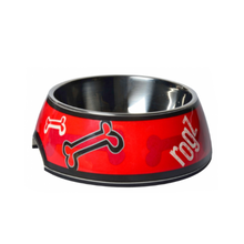 Rogz Bubble Dog Bowl - Red Bones