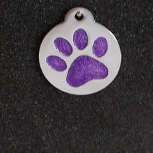 Glitter Enamel Paw Large Dog Id Tag - Purple