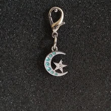Crystal Moon Charm - Blue