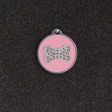Swarovski Round with Bone Small Dog/Cat Id Tag - Pink