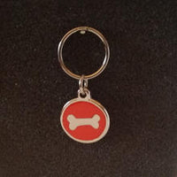 Deluxe Small Bone Dog/Cat Id Tag - Red
