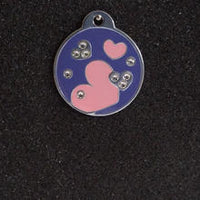 Swarovski Round with Hearts Large Dog Id Tag