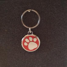 Deluxe Small Paw Print Dog/Cat Id Tag - Red