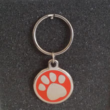 Deluxe Large Paw Print Dog Id Tag - Red