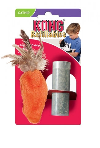 Kong Refillable Feather Top Carrot Cat Toy