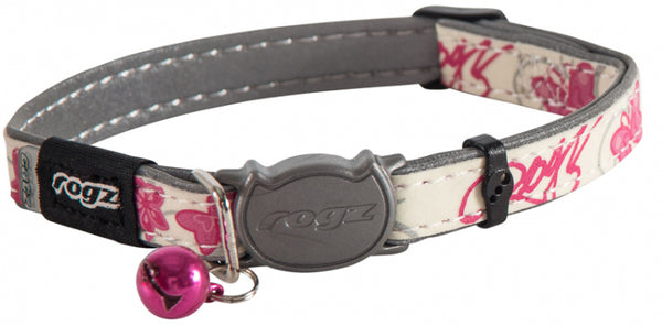 Rogz Glowcat Safeloc Collar - Pink Butterflies
