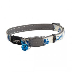 Rogz Glowcat Safeloc Collar - Blue Floral