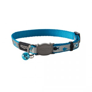 Rogz Reflectocat Safeloc Collar - Blue Fish