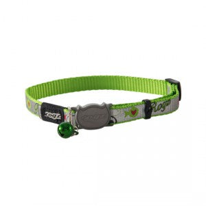 Rogz Reflectocat Safeloc Collar - Lime Fish