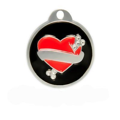 Swarovski Tattoo Heart Cat/Small Dog Id Tag
