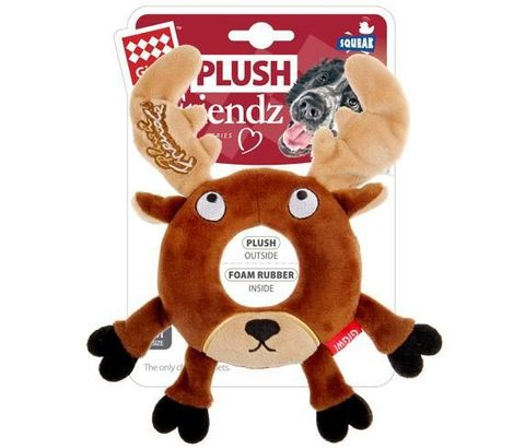 GiGwi Plush Friendz Dog Toy - Reindeer Ring - Medium