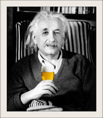 Einstein drinking craft beer