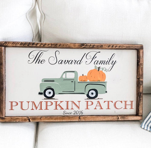 Family Fall Pumpkin Patch Sign with Vintage Truck - Fall Decor - Personalized Pumpkin Patch Sign