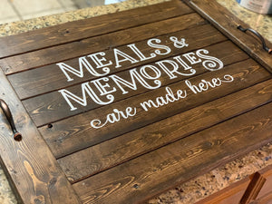 Meals & Memories Noodle Board - Stove Cover - Farmhouse Decor