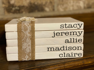 Wooden Book Stack - Names