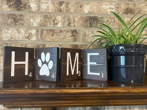 Scrabble Sign with Paw - Hinged
