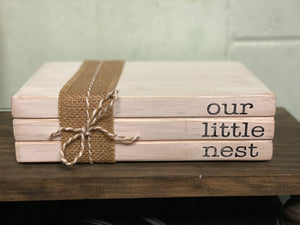 Wooden Book Stack - Our Little Nest