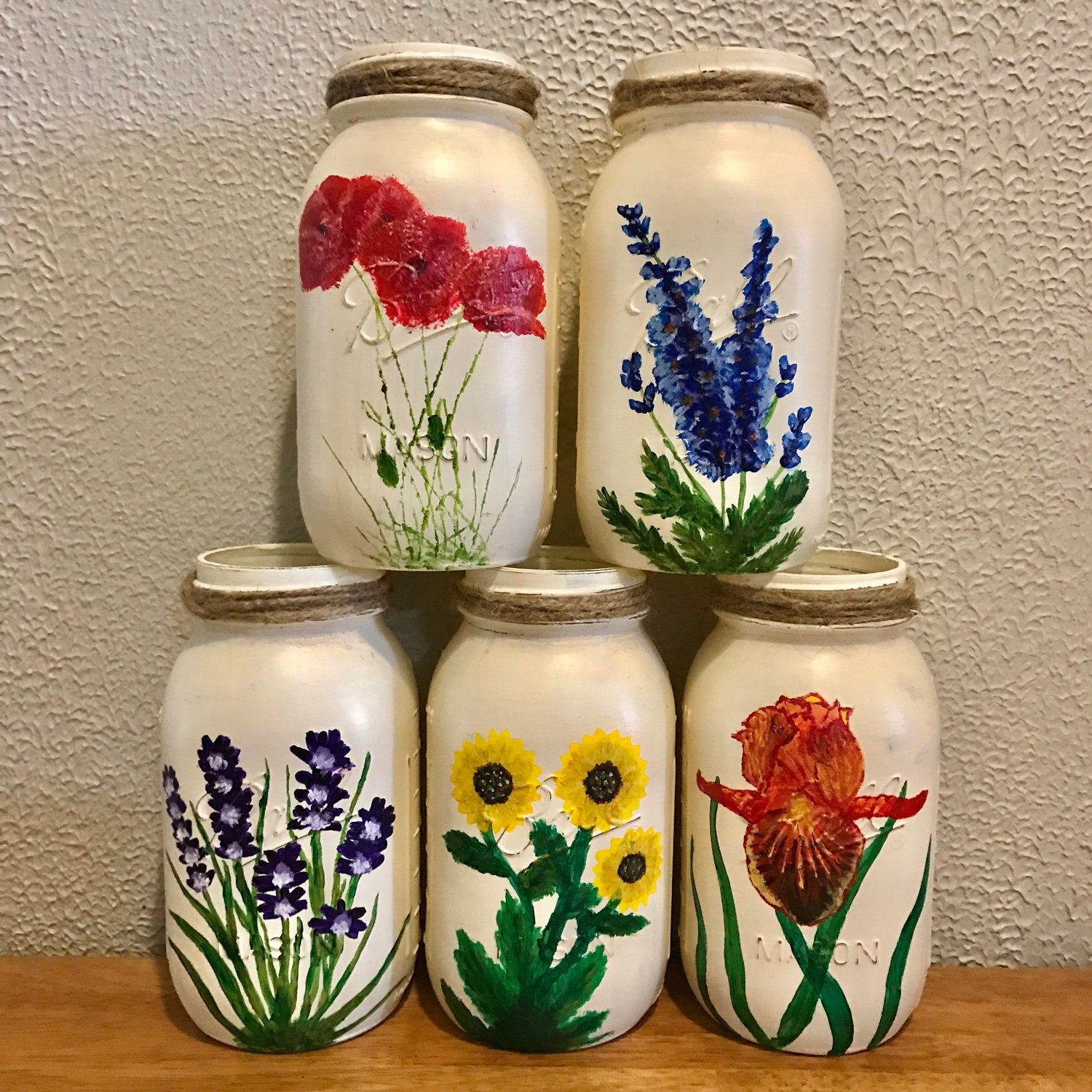 Hand Painted Wildflower Mason Jars