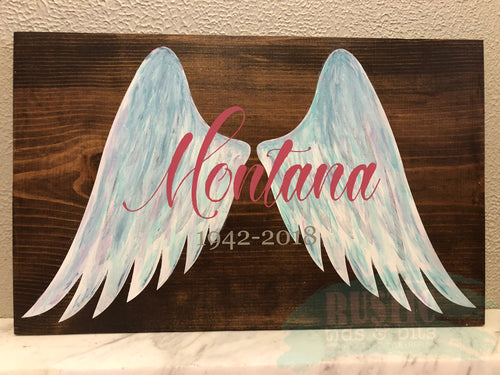 Remembrance Gift Angel Wings Sign Personalized - Memorial Keepsake - In Memory - Hand painted