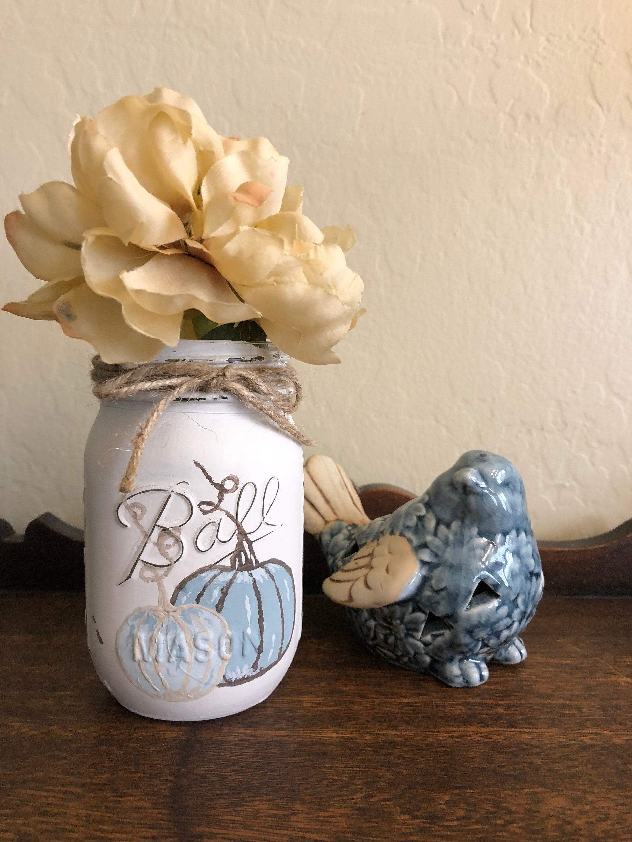 Blue Pumpkins - Mason Jar